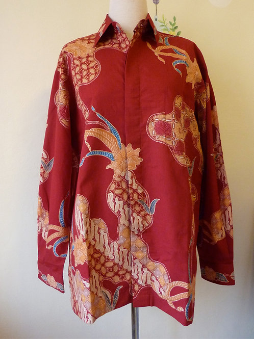 Hand-drawn Red Floral Cotton. Long (2XL)