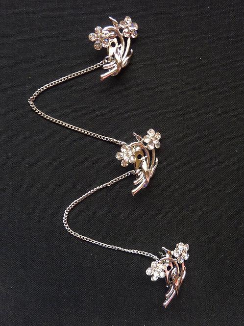 Kerosang Stone Silver Flower Mini