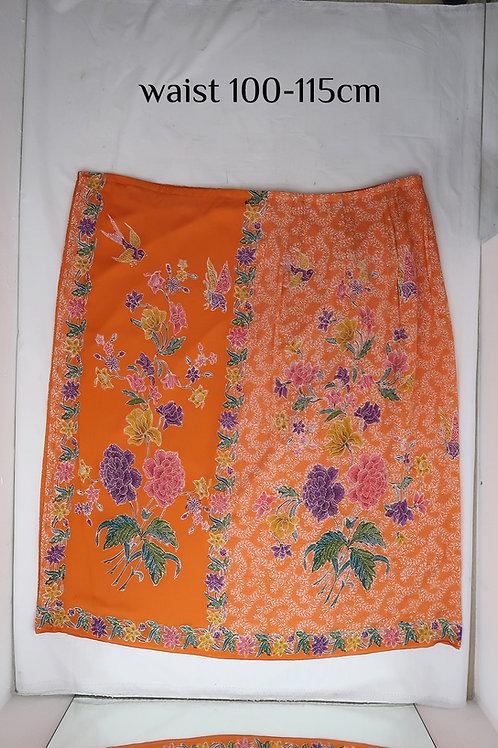 Sarong Skirt Button: Peony Bird Butterfly on Tangerine