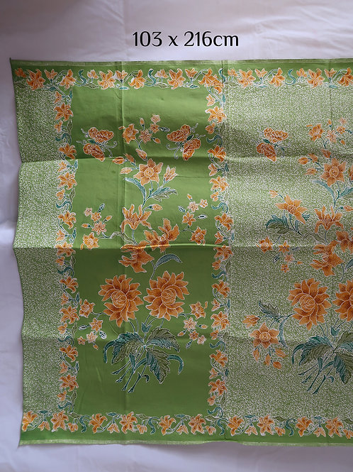 Sarong Yellow Flower Butterfly on Pandan Cotton
