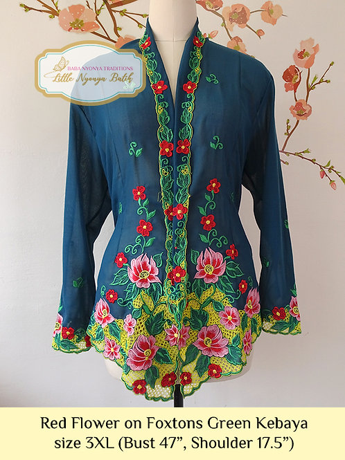 B: Red Flower in Foxtons Green Kebaya. size 3XL