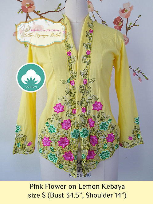size S C: Pink Flower in Lemon Kebaya