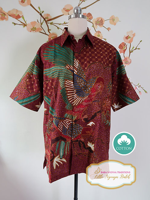 Hand-drawn Maroon Bird on Cotton. Size L