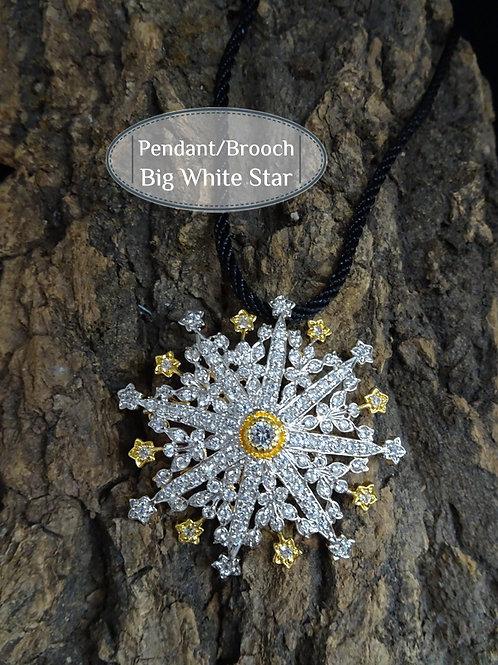 Brooch/Pendant Vintage Style Big Star: Silver