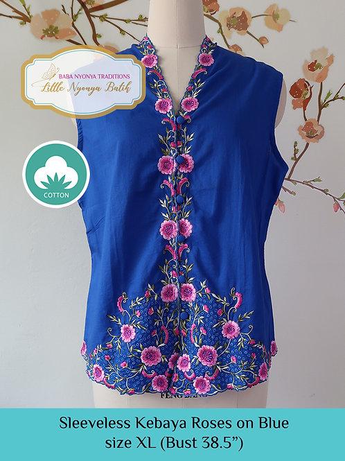 Size XL Sleeveless Kebaya: Roses on Blue