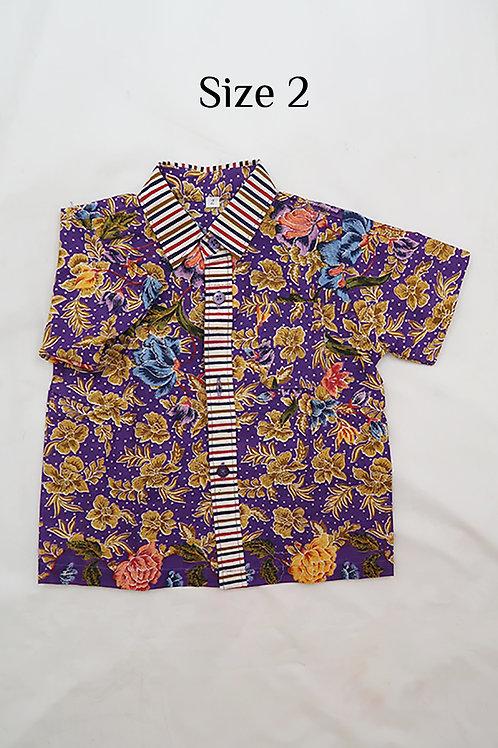 Boy Batik Shirt Purple and Black.  size 2 for 2yo