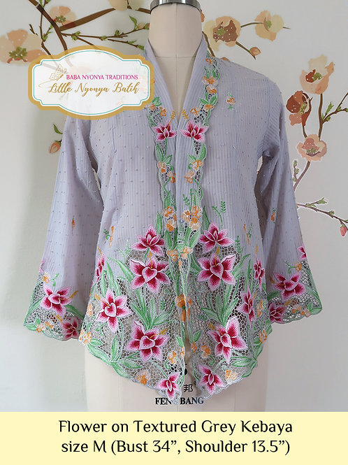 H: Flower in Textured Grey Kebaya. size M