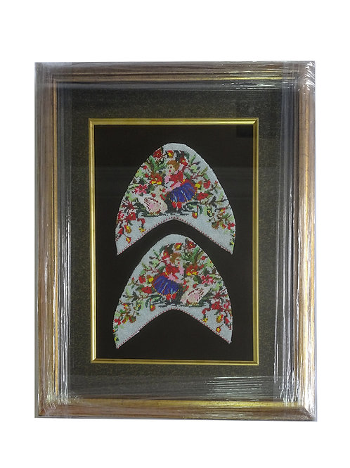 Bead Shoe Panel with Frame: Girl with Swan