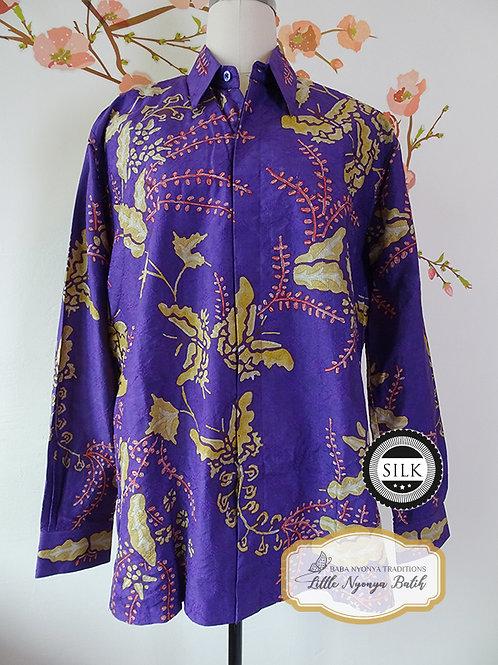Hand-drawn Shirt Butterfly Purple on Textured silk (L)