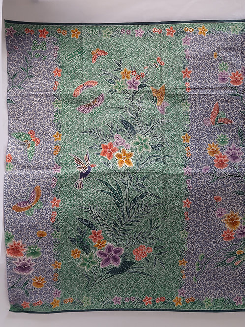 Sarong Bird and Butterfly Green-Steel Blue