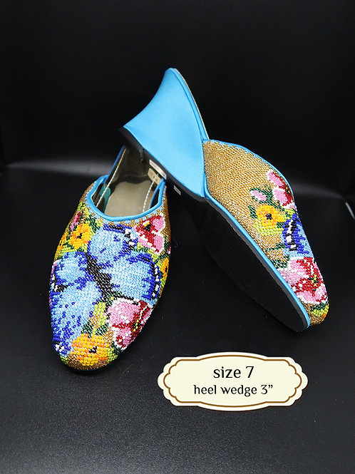 Covered Butterfly on Blue Beaded Shoe. size 7 or Eur 37