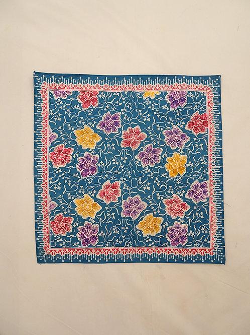 Small Hankie/Napkin Blue Colorful Peony A