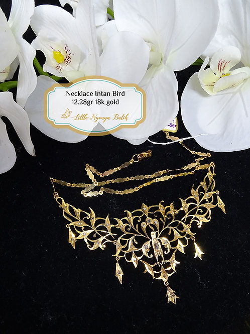 Vintage: Bird Gold Necklace with intan in 18k