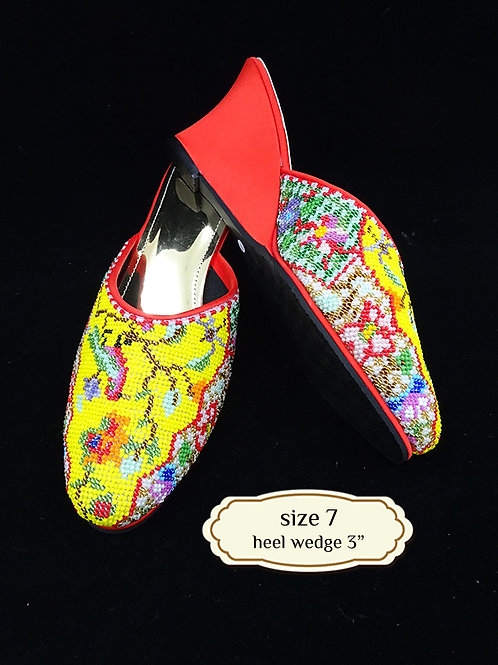 Covered Bird on Yellow Beaded Shoe. size 7 or Eur 37