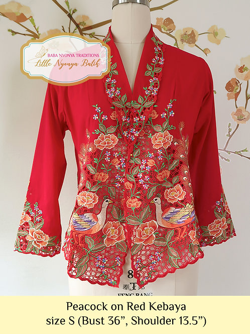 Size S Lux: Peacock on Red kebaya