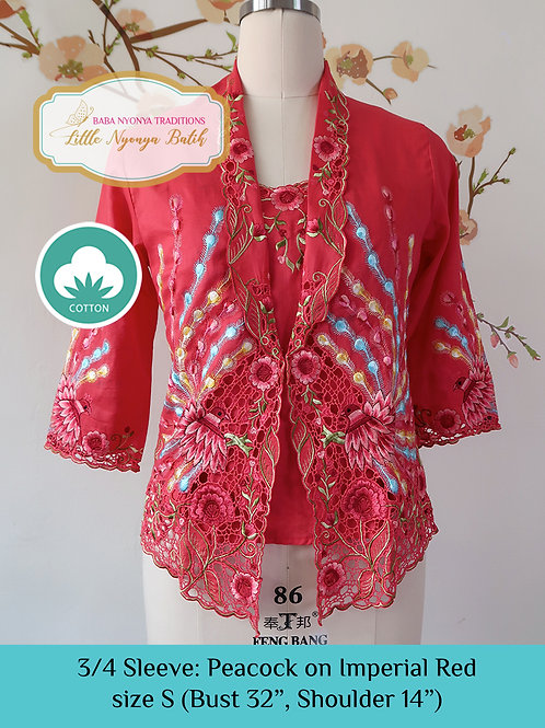 Size S 3/4 Sleeve Kebaya with Camisole Peacock Imperial Red