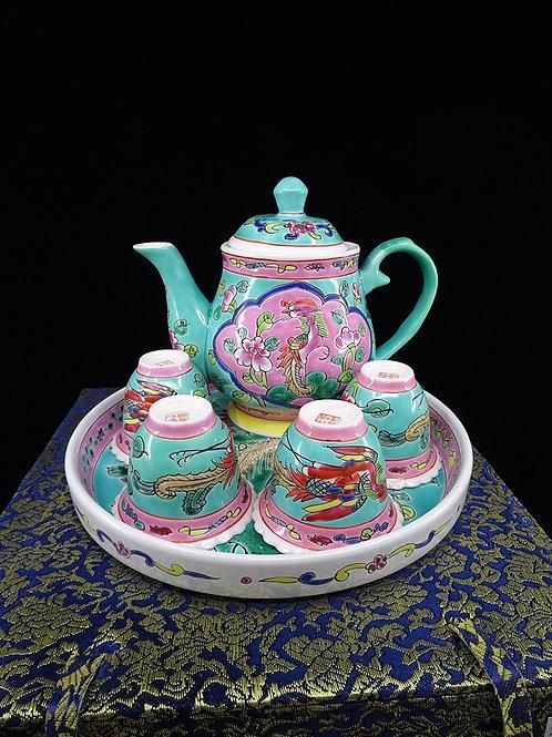 Tea Set Turquoise Round Tray in Box