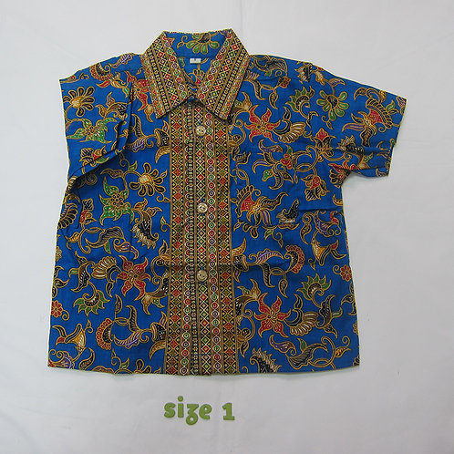 Boy Shirt Floral Blue. For 1yo