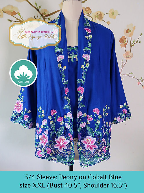 Size XXL 3/4 Sleeve Kebaya with Camisole Cobalt