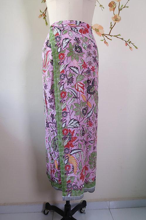Sarong String: Pink Bird cotton material
