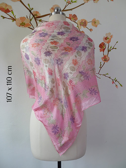 Square Scarf Batik Pink on Smooth Silk