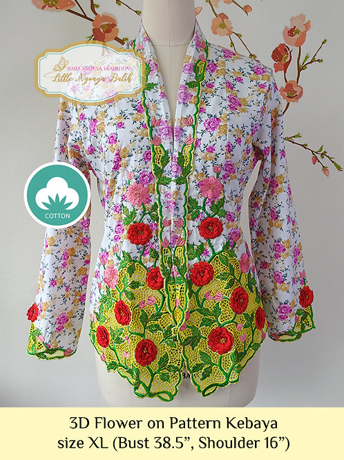 C: 3D Flower on Pattern Kebaya. size XL