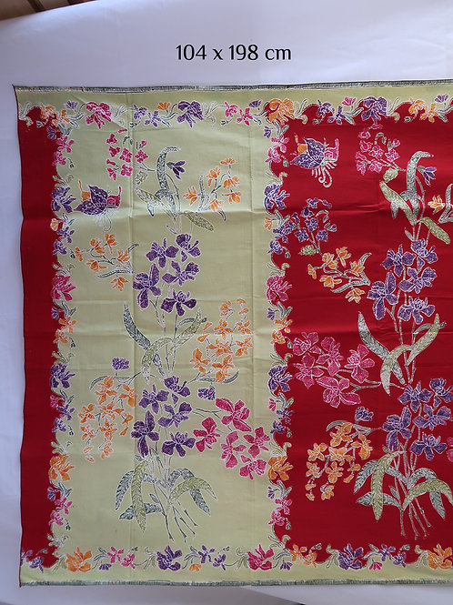 Sarong 2tone Orchid Green-Red Cotton