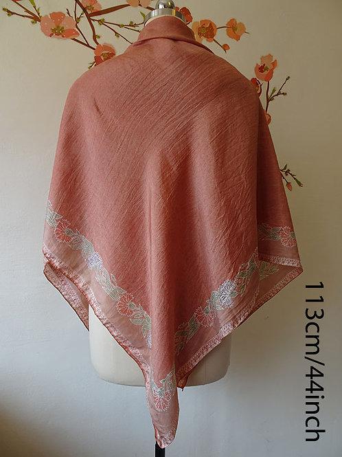 Square Batik Scarf Burnt Orange on Smooth Silk