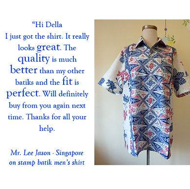 peranakan men batik shirt baba singapore stamp blue