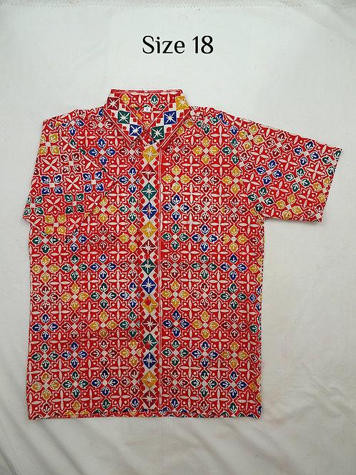 Handmade Stamp Batik Boy Batik Shirt. size 18