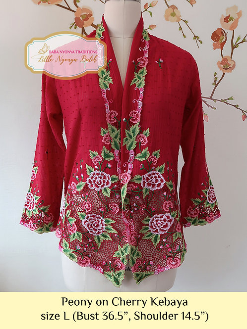 H: Peony in Cherry Red Kebaya. size L