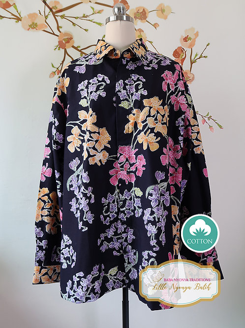SBML: Orchid Black on cotton (A). No Lining. size XXL