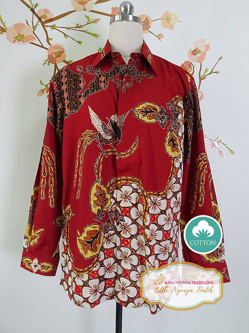 Hand-drawn Shirt Orchid Phoenix Maroon on Cotton (M)