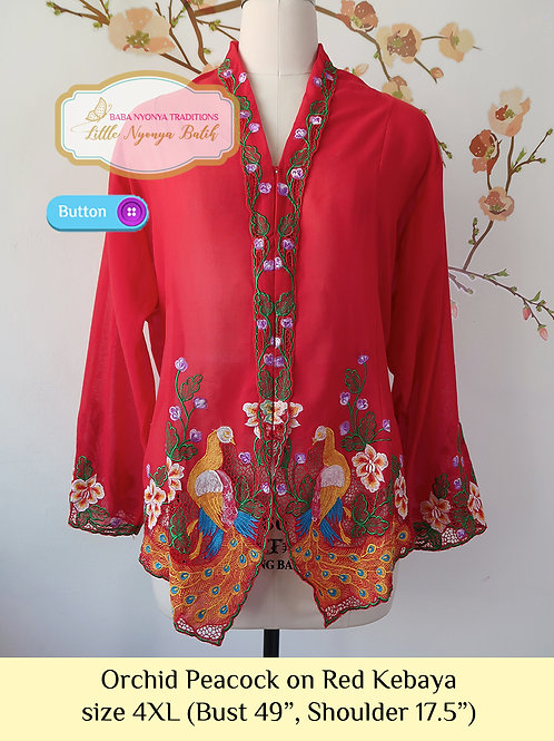 B: Orchid Peacock in Red Kebaya. size 4XL