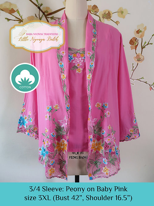 Size 3XL 3/4 Sleeve Kebaya with Camisole Baby Pink