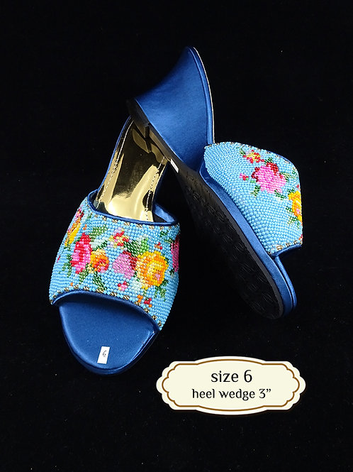 Blue Flower Beaded Shoe. size 6 or Eur 37