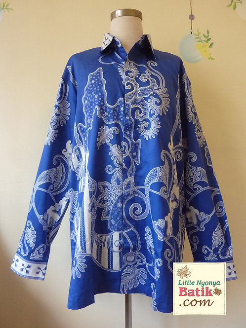 Hand-drawn Floral on Blue Cotton. Long (XL)