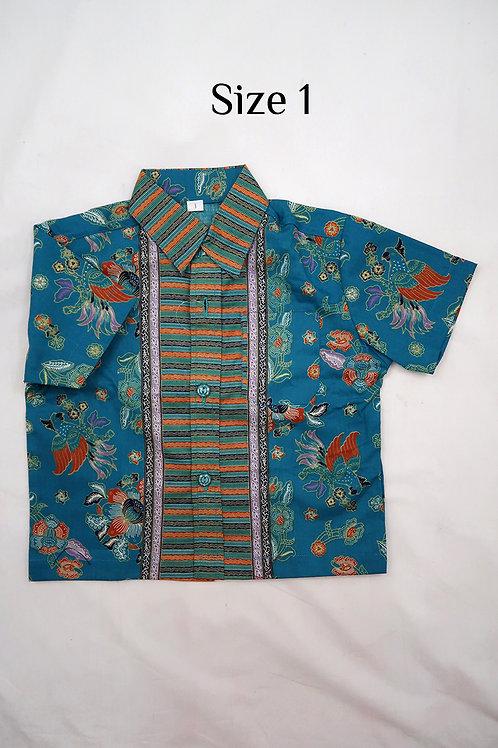Boy Batik Shirt Kakatua Turquoise.  size 1 for 1yo