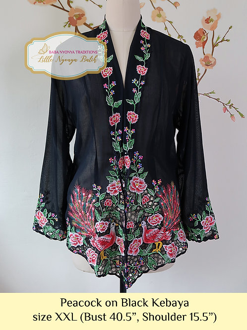 C: Peacock in Black Kebaya. size XXL