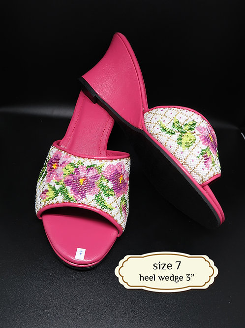 Pink Flower Micro Beaded Shoe. size 7 or 38