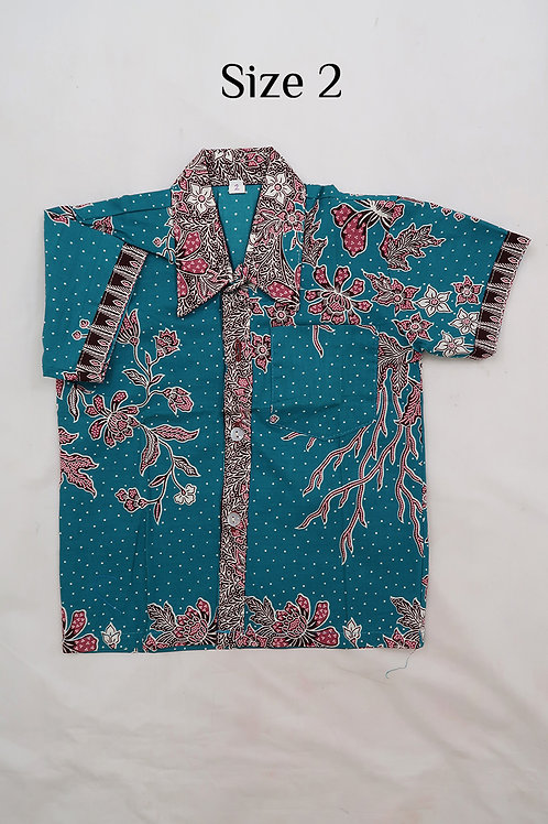 Boy Batik Shirt Turquoise and Green.  size 2 for 2yo