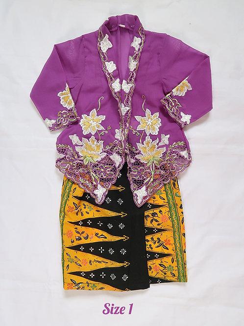 size 1 (1 yo). Yellow Flower in Purple Kebaya