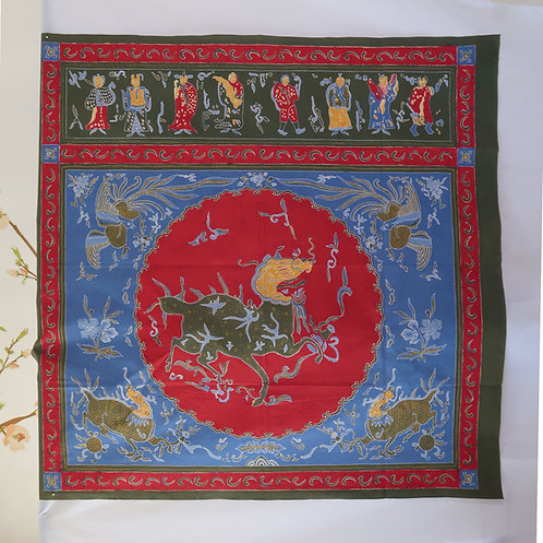 Tok Wee Red Blue Dragon. 2 sided hand drawn batik.