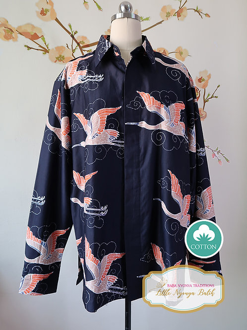 SBML: Crane Black on Silky Cotton Sateen. No Lining. size XL
