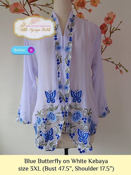 B: Blue Butterfly in White Kebaya. size 3XL