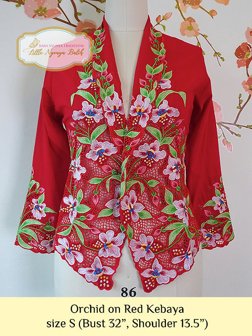 Lux: Orchid on Red kebaya (S)