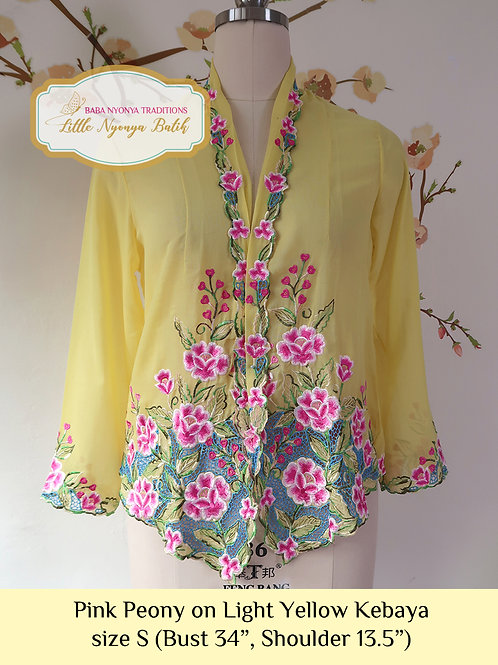 B: Pink Peony in Light Yellow Kebaya. size S