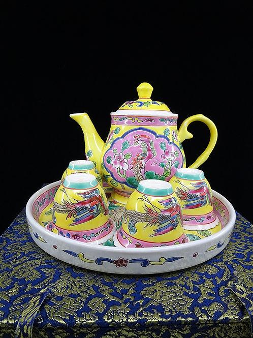 Tea Set Yellow Round Tray in Box