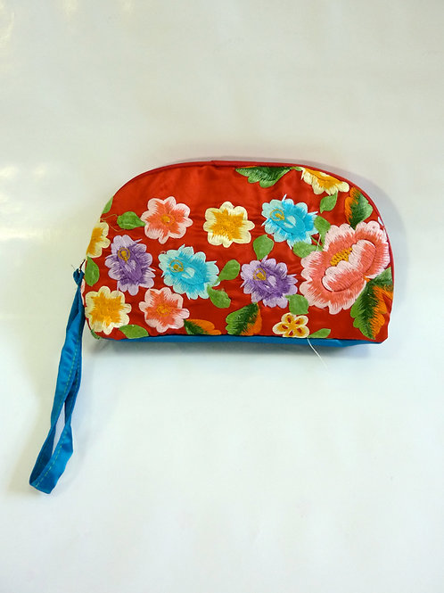 Colorful flower on Red Pouch B