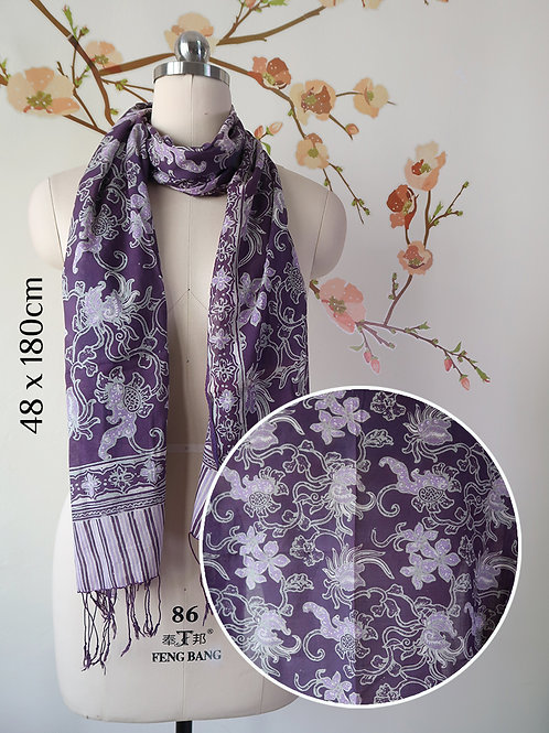 Cotton Scarf Small Flower Purple (Medium)